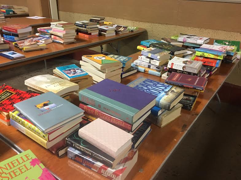 books at rummage sale