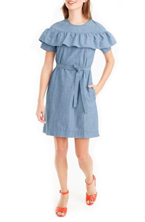 j crew chambray ruffled dress